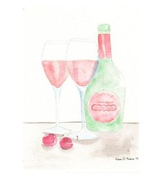 Original watercolor Painting  Pink Champagne by MilkFoam on Etsy, $30.00