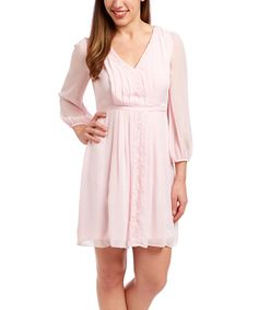 Look at this Pale Pink Lace-Accent Pleated Dress on #zulily today!