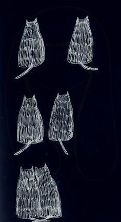 cat drawing Illustration art Black and White hugs