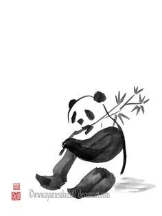 Panda - sumi-e by SayuriMVRomei on DeviantArt Japanese Ink Painting, Sumi E Painting, Chinese Painting, Samurai Drawing, Panda Drawing, Panda Art, Tinta China, Japanese Calligraphy, China Art