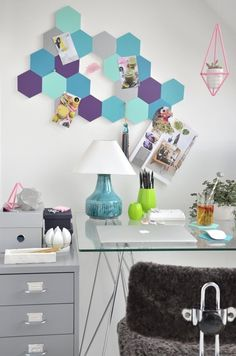 Colorful  Easy DIY Project: Cute Honeycomb Pin Board