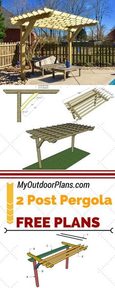 Learn how to build a cool 2 post pergola for your backyard or patio. Follow my step by step instructions and plans for a 2 post pergola to save money and add value to your home at MyOutdoorPlans.com #diy #pergola #pergolaideas