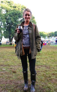 Magenta wearing a vintage Barbour jacket at Festival No.6