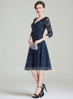 A-Linie/Princess-Linie V-Ausschnitt Knielang Chiffon Lace Kleid für die Brautmutter (008072689) - JJsHouse