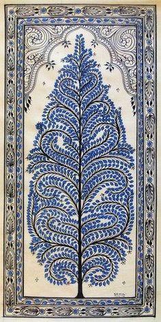 Pichwai Paintings, Indian Art Paintings, Mural Painting, Tree Of Life Painting, Tree Of Life Art, Tribal Pattern Art, Tribal Art, Madhubani Art, Madhubani Painting