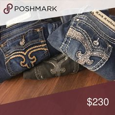 BOGT Rock Revival Jeans One bedazzled pair of Yui boot cut Rock Revival Jeans size 26/32, one colored Delisa pair of skinny Rock Revival Jeans (green) size 26/32 and one pair of Calli embroidered pair of skinny jeans with orange stitching size 27/32 (fits the same as others) Rock Revival Jeans Skinny