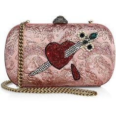 Gucci Broadway Brocade Embroidered Clutch ($2,980) ❤ liked on Polyvore featuring bags, handbags, clutches, apparel & accessories, pink, gucci, pink handbags, gucci purses, chain handle handbags and gucci clutches