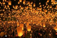 Floating lantern festival in Thailand. I think this should be added to the list of places to go!