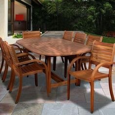 Amazonia Kentucky 9 Piece Oval Eucalyptus Patio Dining Set