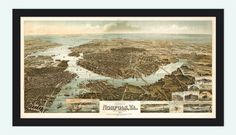 Norfolk Virginia 1892 Panoramic View Vintage