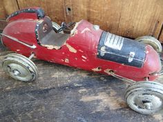 Antique 1930's Wooden Race Car Vintage Red Hot Rod by exploremag,