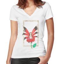 Rose Secret Fairy Fitted V-Neck T-Shirt Chiffon Shirt, Chiffon Tops, Buy Roses, Long Hoodie, Wearable Art, Laptop Sleeves, V Neck T Shirt, Legends, Classic T Shirts