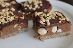 Peanut & Caramel 'Snickers' Slice!  Vegan!  Gluten free!  No Bake!