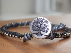 Leather Ball Chain & Waxed Linen Bracelet with by MalieCreations, $15.95