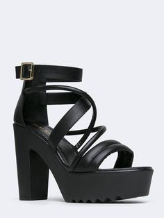 - Strappy heels are a must for Saturday nights, making this ultra-sexy pair one that belongs in your weekend closet. - Sandals have a leatherette upper with a chunky platform heel and a back zipper cl