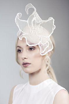 Races Hat, Scottish Linen and Lace Flower Occassion Hat, Button fascinator, Percher - Baret