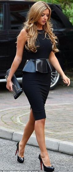 Lovely pleather peplum dress