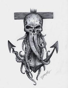 Davy Jones Skull and Anchor Print – octopus tattoo Navy Tattoos, Leg Tattoos, Body Art Tattoos, Tattoos For Guys, Navy Anchor Tattoos, Pirate Skull Tattoos, Octopus Tattoos, Pirate Tattoo Sleeve, Pirate Octopus Tattoo