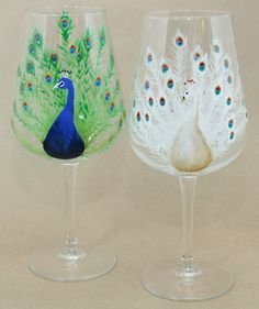 Peacock Hand Painted Wine Glass by CaitibethDesigns on Etsy