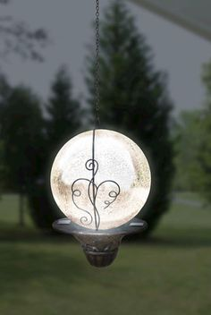 """6"""" Solar Hanging Gazing Ball in Silver - looks like the Moon ♥"""