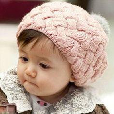 Infantil-Bebe-Nina-Gorro-Beanie-Sombrero-Tejido-Gorra-Abrigo-Invierno-Ganchillo