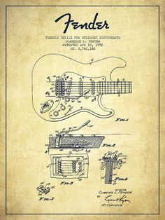 Fender Poster featuring the drawing Fender Tremolo Device Patent Drawing From…