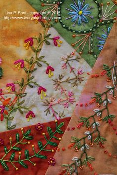 20 Ideas Crazy Quilting Ideas Things To For 2020 Silk Ribbon Embroidery, Hand Embroidery Stitches, Embroidery Patterns, Quilt Patterns, Block Patterns, Crazy Quilt Stitches, Crazy Quilt Blocks, Crazy Quilting, Hexagon Quilting