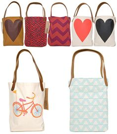tote/hand bags,the one with the bicycle is my fav.