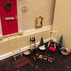 My stuff// little gnomes Christmas door - decor - dollhouse stuff - for kids - everyday during december the little gnome (Nissen) leaves a little present by the door for my kid..