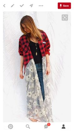 """Your place to buy and sell all things handmade : Bohemian Flannel Shirt Duster - Vintage Flannel turned into adorable """"dress"""" Diy Clothes Refashion, Shirt Refashion, Diy Clothing, Sewing Clothes, Cowgirl Clothing, Cowgirl Fashion, Diy Shirt, Umgestaltete Shirts, Flannel Shirts"""