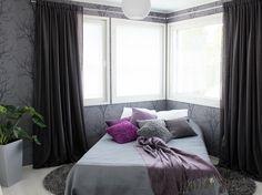 asuntomessut_maisema_makuuhuone Curtains, Bed, Furniture, Home Decor, Emerald, Blinds, Decoration Home, Stream Bed, Room Decor