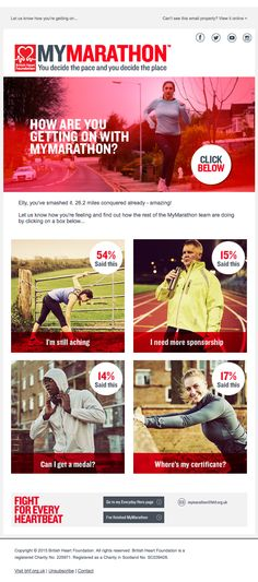 The British Heart Foundation (BHF) used a live poll to check in on MyMarathon participants during the MyMarathon challenge. MyMarathon allows people to raise money for BHF by running 26.2 miles during the month of May; the polling data then allowed the BHF team to progressively profile participants and send more relevant emails.
