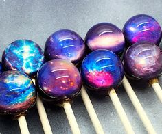 Experience the cosmos in a whole new light by getting a taste of the starry sky snacking on one of these galaxy lollipops. They come in batches of ten and each feature an incredibly vivid and colorful design of the universe printed onto the surface.