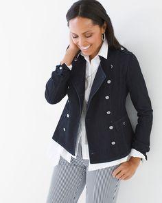 Chico's Women's Denim Military Jacket, Delta, Size: 4 (20/22 XXL)