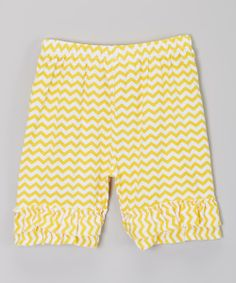 Take a look at the Just Couture Yellow Zigzag Ruffle Shorts - Infant, Toddler & Girls on #zulily today!