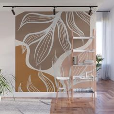 Organic Shapes & Palm Leaves Wall Mural by alisagal Wall Painting Decor, Mural Wall Art, Wall Decor, Bedroom Wall, Bedroom Decor, Decoration, Wall Design, Interior And Exterior, Organic Shapes
