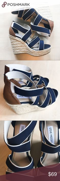 Steve Madden Nautical Erryn Wedge Shoes Steve Madden Nautical Wedge Strappy Espadrilles Shoes    -C- Steve Madden Shoes Sandals