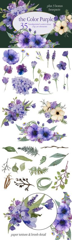 The Color Purple Floral Collection. Watercolor Flowers. $20.00