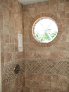 Bathroom, Wonderful Images Of Bathroom Ideas Photo Gallery Also Tile Shower Designs With Glass Shower Room Apply Folding Glass Shower Door Plus White Bathtub And Toilet And Sink Also Vanity With Round Glass Window: Wonderful Bathroom Ideas Photo Gallery