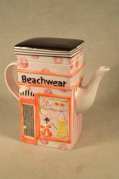 Beach Shop Teapot Tea Pot Ceramic Bath by SnapshotsThroughTime