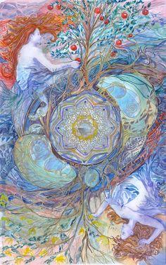 Cuatro elementos acuarela imprimir geometría arte por ValrArt