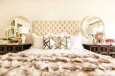 Sally Wheat Interiors Master Bedroom Tufted bed, Dorothy Draper chests, fur throw