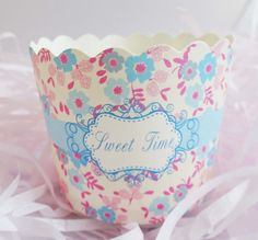 Sweet Tea Time Baking Cups for Cupcakes & Muffins This beautiful floral baking cup is perfect for a bridal shower or a gathering with your bffs! International shipping from Canada available. Visit site for more details!