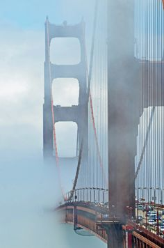 Golden Gate through the mist in San Francisco, California