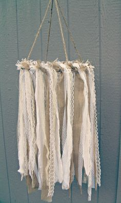Burlap and Lace Fabric Chandelier, Ceremony Decor, Reception Decor, Baby Mobile