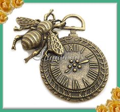 1 Bee w Pocket Watch Antiqued Brass Pendant or Charm by sugabeads