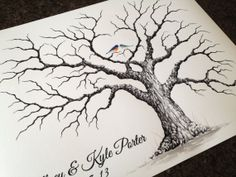 LARGE HEART OAK Wedding Guest book tree- 24x18  Customized Giclée Print of my Original Painting.  Accommodates approximately 125-200 guests