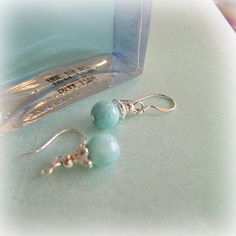 """larimar, the pierced earring -  crystal of healing of silver, an angel, and a healing one-house house -- """"Crystal Garden   Mejiro"""""""
