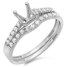 0.25 Carat (ctw) 14k White Gold Round Diamond Ladies Semi Mount Bridal Engagement Ring Set 1/4 CT (No Center Stone) (Size 5.5)