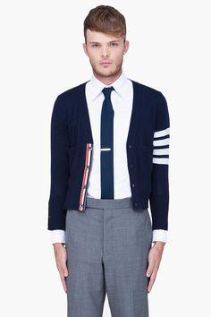 THOM BROWNE Navy Striped Cashmere Cardigan